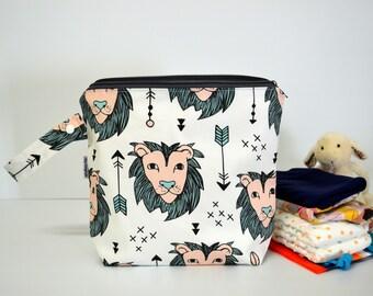 Wet bag, nappy bag, diaper bag, waterproof PUL bag - Lion
