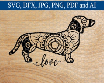 Dachshund SVG, Dachshund Mandala svg, Mandala, Dog Mandala, Mandala svg, Dog SVG, Commercial Use SVG, Cut File, Cutting Files