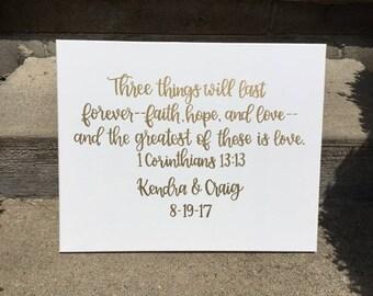 Wedding Canvas | Custom Canvas | 1 Corinthians | Love Quote | Love Decor | Wedding Decor | Wedding Sign | Wedding Date | Welcome Sign