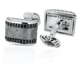 David Yurman Silver Chevron 925 CuffLinks 0.84ct Black Diamonds Mens  1,600