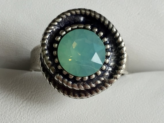 Pacific Opal Crystal Ring, Pacific Opal Crystal Rope Ring, Swarovski Pacific Opal Ring