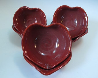Heart Bowl Dish Red Candy Jewelry - Handmade Pottery