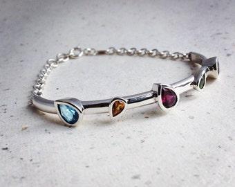 Pear Cut Multi-colour Gemstone and Silver Bracelet - Birthstone Bracelet with Blue Topaz, Garnet, Amethyst, Citrine, Peridot Gemstones