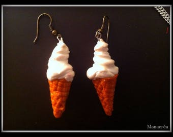 Earrings glass Earring/Italian Ice whipped cream/Jewelry / Jewel whipped Ice cream
