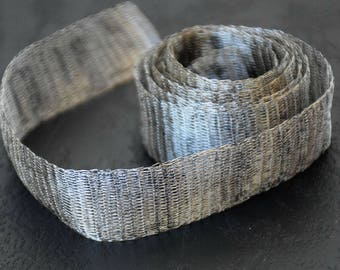 Titanium Tubular Mesh Ribbon. Mesh Wire. Titanium Mesh. Wire Lace .  Silver. 1 mt.  Ribbon Supplies-  NC 009