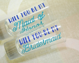 Will you be my Bridesmaid Maid Shot Glass Maid Matron of Honor Personalized