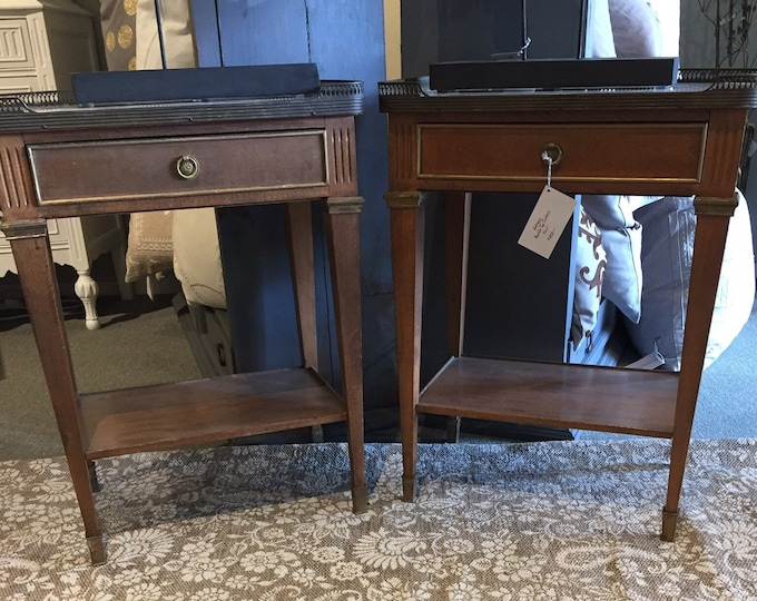 Antique Marble and Brass Pair of Tables