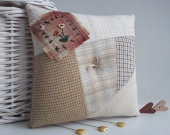 pincushion,patchwork pincushion,patchwork and embroidered pincushion,primitive style pincushion,primitive pincushion,pincushions,manchester,