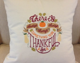 Embroidered Pillow - Thanksgiving - Thankful - Beige - Cotton Canvas - Throw Pillow