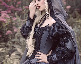 Grey and Black Gothic Sleeping Beauty Medieval Fantasy or Wedding Gown Custom!