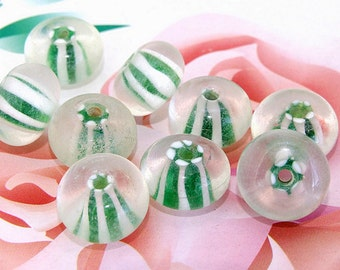 5beads/lot Charm Green Rondelle Clear Lampwork gemstone beads 8mmx15mm