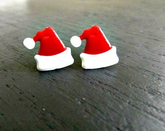 Santa Hat Stud Earrings Christmas earrings, Holiday jewelry