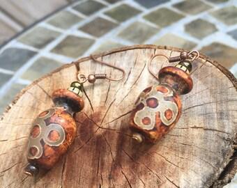 Tibetan Dzi Bead Dangle Earrings / Dzi Bead Earrings / Tibetan Agate Stone Dzi Beads Earrings