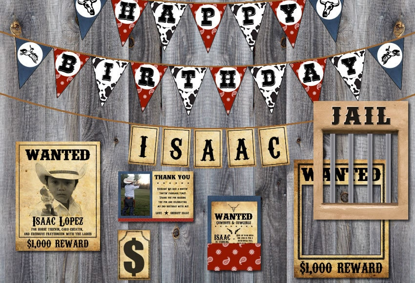 Western Cowboy Rodeo Party Theme Bundle: Happy Birthday