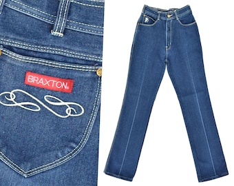 70s High Waist Jeans Mom Jeans Dark Denim Jeans BRAXTON High Waisted Jeans Slim Fit 1970s Straight Leg Jeans 70s Mom Jeans Jeans 26 W