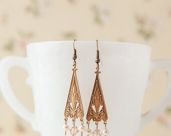 Vintage-style Edwardian Earrings with Swarovski Crystals