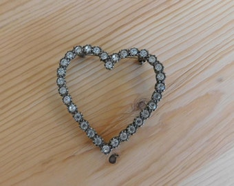 Valentine Heart Shaped Rhinestone Vintage Pin