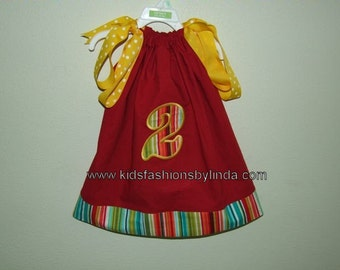 Striped Circus/Carnival Applique Number Pillowcase Dress
