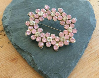 Vintage French brooch, sparkling pink and white flower brooch. A mass of rhinestone.