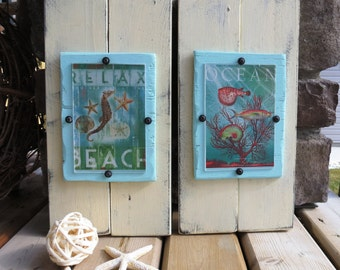 Shabby Beach Distressed Wood Plank Frame Set of 2 for 4X6, Cream, Aqua, For the Home, Cottage, Nautical, Ocean