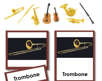 Musical Instruments Montessori Three-Part Cards w/Matching Objects