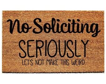No Soliciting | Beige 18 In. X 30 In. Coir And Vinyl Door Mat