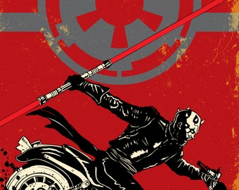 "Sith of Anarchy Darth Maul, 12""x12"" print Star Wars meets Sons of Anarchy"