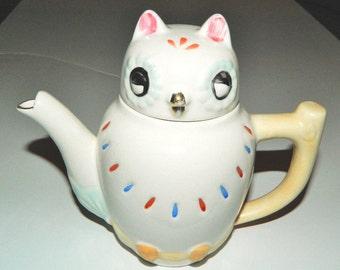 "Vintage Emson Hand Painted Small 5 1/2"" Ceramic Owl Teapot"