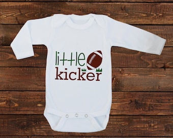 Football Baby Clothing - Super Bowl Baby Boy Shirt - One Piece Bodysuit - Football Little Kicker