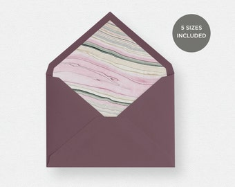 Envelope Liner Template | 5 Envelope Sizes Included Printable Instant Downloads | Marble Paper Pink | No. EDN 5233