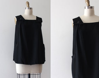 vintage 1950s blouse // 50s black top