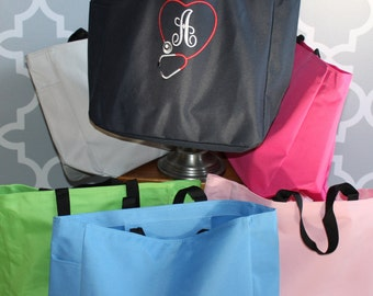 Monogrammed Tote Bag NEW COLORS-for Brides, Bridesmaids, Sports, Day at the beach, Teachers,or Just for Fun!!