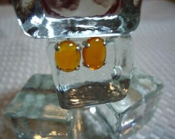 Oval Cabochon Ethiopian Fire Opal Earrings in Sterling Silver  #1859