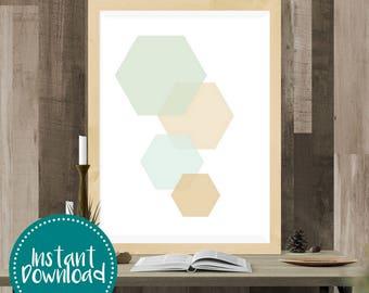 Gold Leaf Hexagon Printable Wall Art