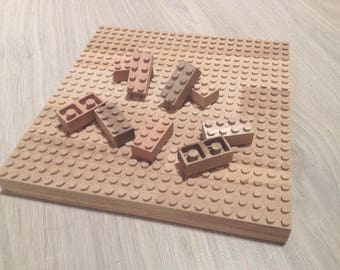Wooden building blocks and base plate - Legocompatible