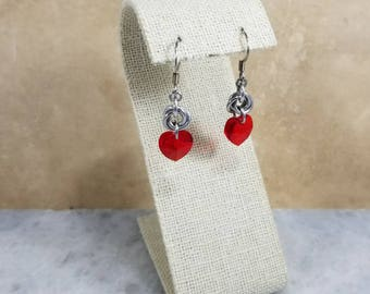 Chainmaille Earrings - Silver with Red Swarovski Hearts