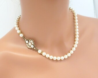 Antique gold Wedding necklace, Bridal pearl necklace, Vintage style necklace, Bridal jewelry, Rhinestone necklace, Swarovski necklace