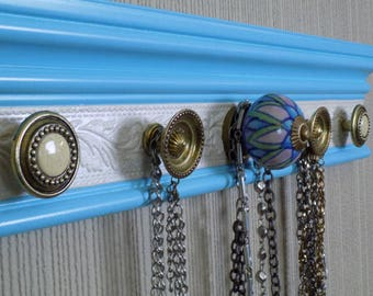 READY T0 SHIP Necklace holder.MOM will love This jewelry organizer on blue background w/ white shimmery embossed background 5 knobs storage