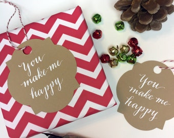 You Make Me Happy Gift tags, set of 8