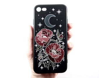 Moon Goddess Market Art Soft Black Matte Rubberized Iphone case | Poppies | Magic | Moon | Crescent