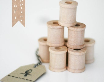 """12 Unfinished wooden spools 3/4"""""""