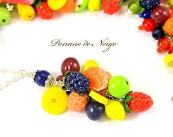 Fruit Necklace pendant Polymer clay jewelry Handmade jewelry Apple Peach Pear Plum Cherry jewellery Polymer clay pendant