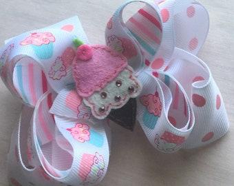 Icecream cupcake boutique hair bow girls hair bows pink bows