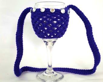 Wine Glass Holder, Wine Glass Necklace, Wine, Wine Necklace, Bachelorette Party, Crochet,  Necklace, Wine Glass, Wine Glass Lanyard, Funny