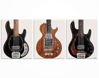 Guitar Painting Wall Art Music Bass Player Gift Original