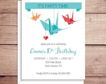 Origami Invitations - Origami Birthday Party Invitations - Party Invitations - Origami Crane Invitations - Custom Invitations