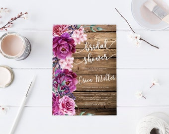 Wood Rustic Pink Purple Floral Bridal Shower Invitation Wedding Party Invitation Hens Party Bachelorette Party Invite Printable Invitation