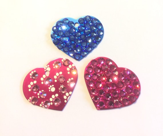 Bling Crystal Rhinestone Dog Cat Pet Heart ID Engravable Tag for Collar, 5 Fonts, Clip Art - High Quality - USA