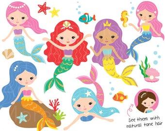 Mermaid Clipart Cute Mermaid Clipart Gold Mermaid Clipart Colorful Mermaid Clipart Under the Sea Clipart Mermaid Princess Clipart