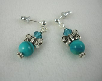 Post butterfly earrings with turquoise MOP beads and Swarovski crystals, turquoise butterfly earrings on sterling posts